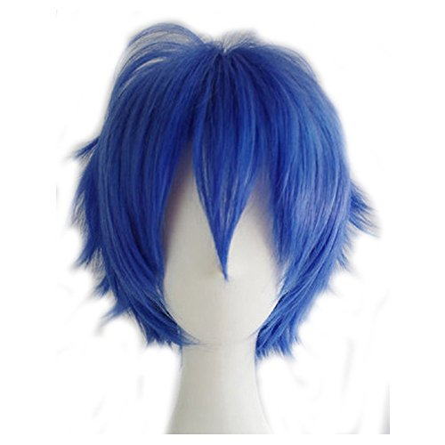 Short Fluffy Anime Wigs for Women Men 21 colors Spiky Unisex Comic Wigs with Oblique Bangs for Halloween Cosplay Costume Party(dark blue)