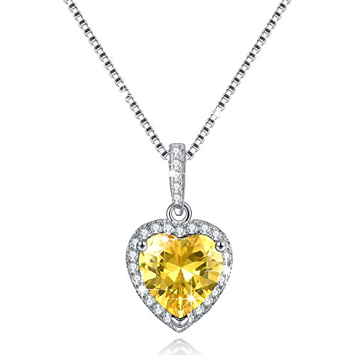 Love Heart Necklace November Simulated Citrine Birthstone Necklace Sterling Silver Gifts for Mom