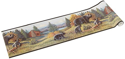 York Wallcoverings Lake Forest Lodge WL5627B Black Bear Border, Multi/Black Band (Western Border)