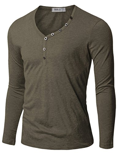 Doublju Mens Henley T-shirts with Button Placket GRAY (US-XL)