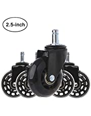Castors Wheels Office Home Chair Black Rubber Replacement Hardwood Floors Perfect Universal Stem Set of 5