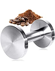 Coffee Tamper, Barista Espresso Tamper, 51mm/58mm Dual Sided, Flat Base, Uncoated Solid Stainless Steel, Dishwasher Safe