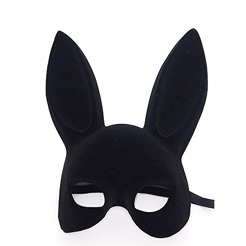 Mardi Gras Party Masquerade Mask,Double-Sided Flocking Rabbit Ears Bunny mask bar New Year Party Dance Fun Rabbit mask Black Prom Masks -