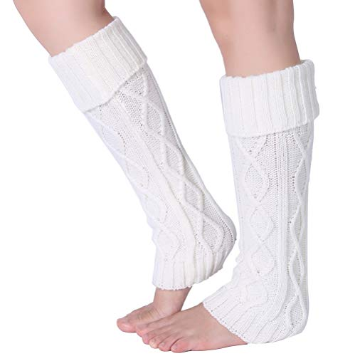 Eleray Women's Winter Soft Over Knee High Cable Footless Socks Knit Leg Warmers -