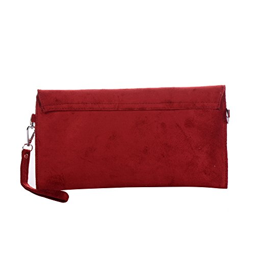 Tedim Enveloppe Pochette D'Embrayage à Enveloppe Femmes Sac Faux Main Daim Rouge p4qU7rZpwx
