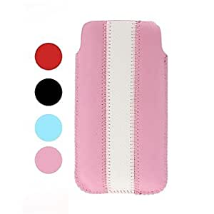Stripe Patchwork Pattern Leather Case for iPhone 4/4S/5/5S/5C , Pink