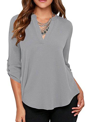 elady-sexy-loose-fitting-chiffon-blouse-top-for-women-v-neck-shirt-grey-m
