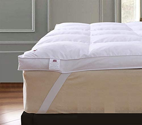 Protector de colch/ón de plumas de ganso para cama extraprofunda de hotel