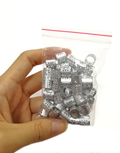 50 Pieces Dreadlocks Beads Hair Braid Cuffs Dreads Lock Ring Adjustable Hair Clip Filigree Tube Tools for Decoration (Silver or Gold) (Silver) -