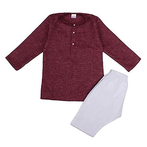 Littly Khadi Style Ethnic Wear Kids Cotton Kurta Pyjama Set for Baby Boys product image