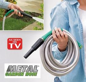 METAL GARDEN HOSE 50 FEET FT NO KINK WITH POWER NOZZLE