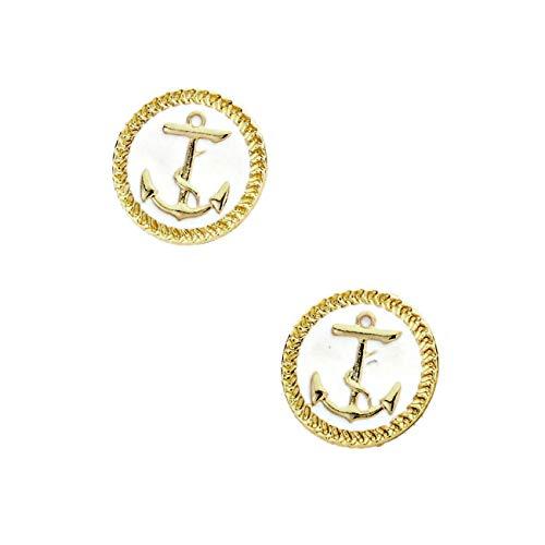 (Golden Anchor Post Earrings with White Enamel )