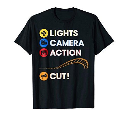 Lights Camera Action Cut   Funny Film Director Tee