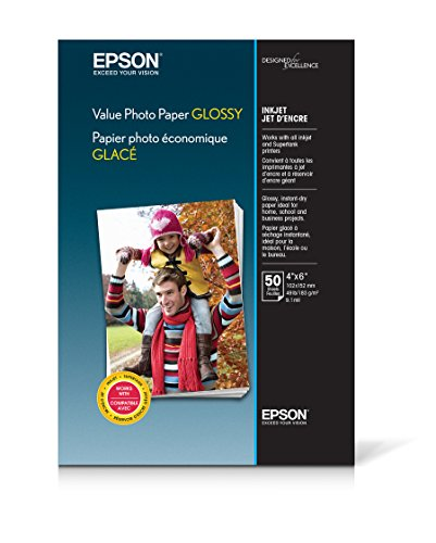 "Epson Value Glossy Photo 4"" x 6"" 50-Count Paper Bright white EPSON S400033 VALUE 4X6 50 CT"