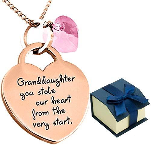 Granddaughter Keepsake Gift - ''Granddaughter You Stole Our Heart'' Sentimental Jewelry Necklace - Birthday Gifts for Girls Teens & Women (Rose Gold/Pink (Gold Pink Crystal Heart)