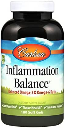 Carlson - Inflammation Balance, Balanced Omega-3 & Omega-6 Ratio, Norwegian, Wild-Caught Fish Oil Supplement with Fatty Acids, Sustainably Sourced Fish Oil Capsules, 180 Softgels