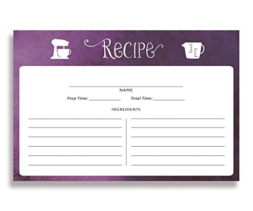 (Plum Ombre Recipe Cards (Set of 15) 4x6 inches. Double Sided Purple Plum Ombre Thick Card Stock Recipe Cards | Kim Purple)