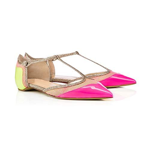 Chaussures Femmes Confortable Simples Chaussures À Du Plat Pointé Candycolor Boucle 1Cm Ballet Bride Talon Maille Pompes La Type Cheville Bandage De T Hauteur rpxqX6Cwp