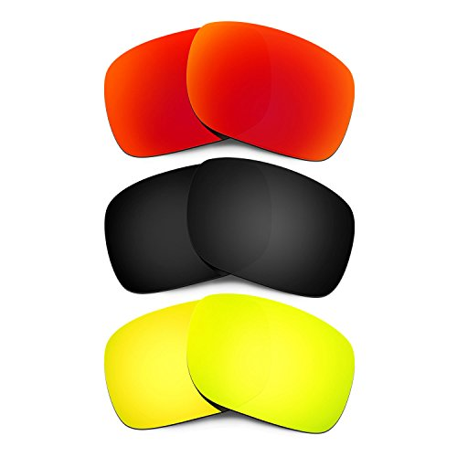 Hkuco Mens Replacement Lenses For Oakley Holbrook Red/Black/24K Gold - Red Holbrook