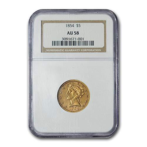 1854 $5 Liberty Gold Half Eagle AU-58 NGC G$5 AU-58 NGC