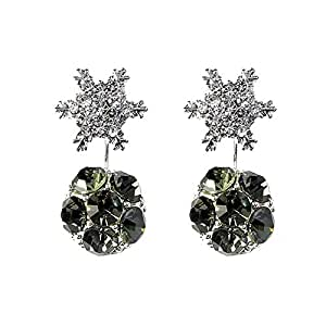 Qings Fashion Silver-Plated Earrings with Gift of Crystal and Snowflake, for Girls and Daughters