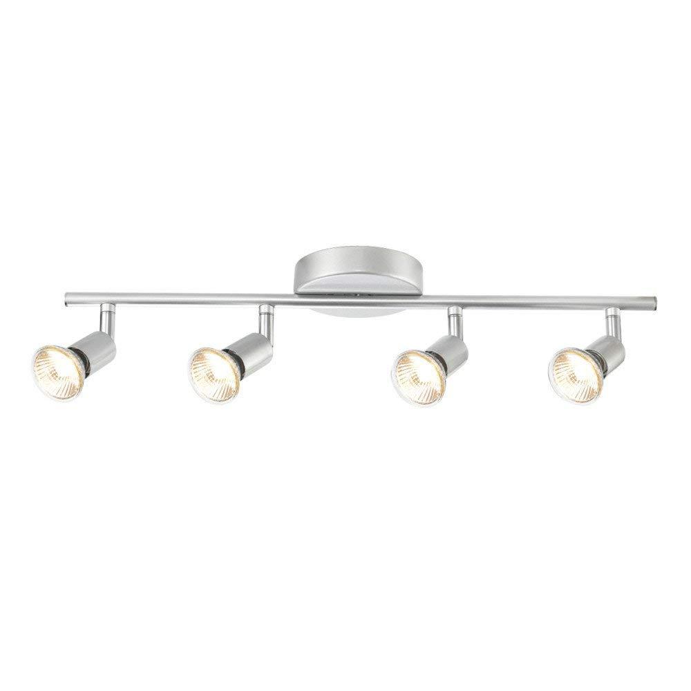 Globe Electric 4-Light Track Kit Light Bar, Brushed Silver Finish, GU10 Bulb Base Code, 58932 (Renewed)