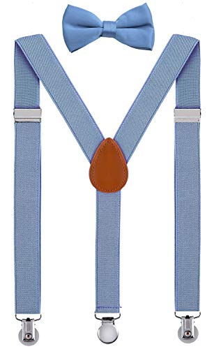 (SUNNYTREE Little Boy's Suspenders Adjustable Y Back with Bow Tie Set)
