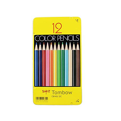 12 Piece Colored Pencils - Tombow 51630 1500 Series Colored Pencils, 12 Piece Set. Artist Grade Wax-Based Colored Pencils in a Reusable Tin