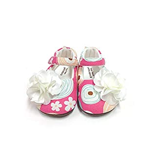 Kinderspel Baby Walker Shoes. Non-Slip Walking Shoes. Baby's First Shoes. Boutique Quality Baby Dress Shoes for Toddlers and Babies. (Confetti Flower - Toddler 5)