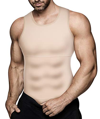 Eleady Mens Slimming Body Shaper Vest Compression Shirt Abs Abdomen Shapewear Workout Tank Top Undershirt (Medium, Beige Tops)