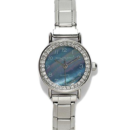 (Dolceoro Pearl Black, Cubic Zirconium Italian Charm Bracelet Watch 9mm Link Type - CHOOSE YOUR WRIST SIZE)