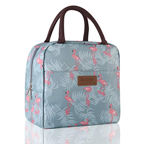 (Buringer Insulated Lunch Bag Cooler Tote with Front Pocket Zipper Closure for Woman Man Work Pinic or Travel (Flamingo Large Size))