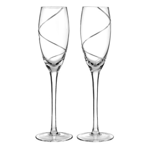 (Hortense B. Hewitt Wedding Accessories Platinum Swirl Champagne Toasting Flutes, Set of 2)