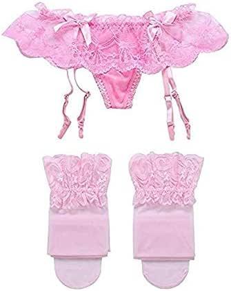 مجموعة ملابس داخلية بحزام رباط دانتيل وجوارب شفافة