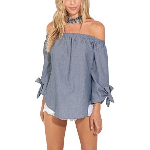 Wholesale Eliacher Women's Off The Shoulder Loose Shirt Tie Cuff Strapless Blouse for cheap