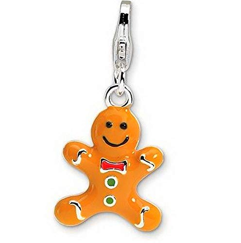 Sterling Silver 3-D Enameled Gingerbread Cookie with Lobster Clasp Charm (0.5in) Vintage Crafting Pendant Jewelry Making Supplies - DIY for Necklace Bracelet Accessories by CharmingSS