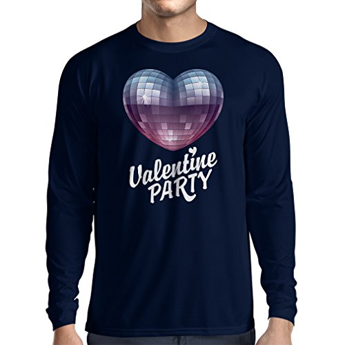"Long sleeve t shirt men ""Valentine day party"" 80s t shirt,I love you gifts (Medium Blue Multi Color)"