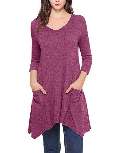 Timeson Tunic Tops Leggings Women, Long Sleeve V-Neck Asymmetrical Hem Tunic Sweatshirt Pockets Purple Red ()