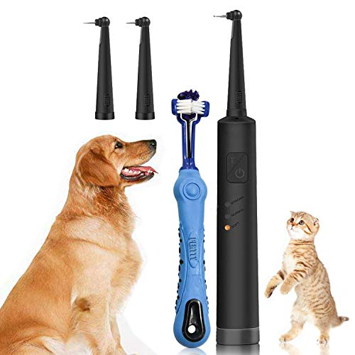 Electric Dog Tartar Cleaner Teeth Polisher – Pet Calculus Plaque Stains Remover with 2 Cleaning Heads and 1 teethbrush…