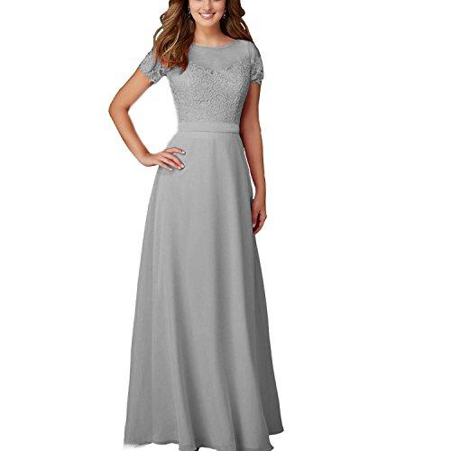 Abendkleid Brautjungferkleid ABaowedding Chiffon Damen lang Grau Kleid Spitze 77qYwRU