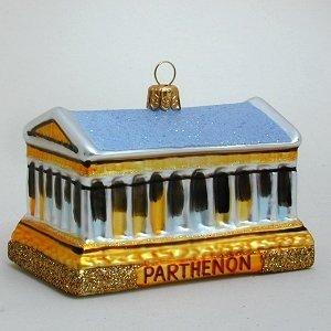 Parthenon - Athens Greece - Polish Glass Christmas Tree Ornament