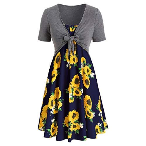 MILIMIEYIK Blouse Women's Floral Print Tube Crop Top Maxi Skirt Set 2 Piece Outfit Dress Gray ()