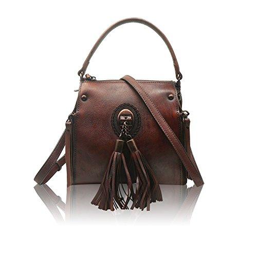 Rucksack Dye Brown Handmade Backpack Travel Bag Ladies Bag Genuine Leather Shoulder Dip Womens Crossbody xZqv6ZX