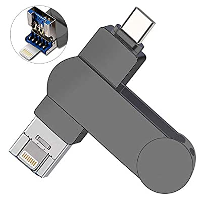128gb Memory Stick for iPhone, OUYUI 3 in 1 USB-C Flash Drive External Storage Photo Backup Stick Compatible with PC/iPhone/iPad/Mac/and Android Devices(Type-C) from OUYUI