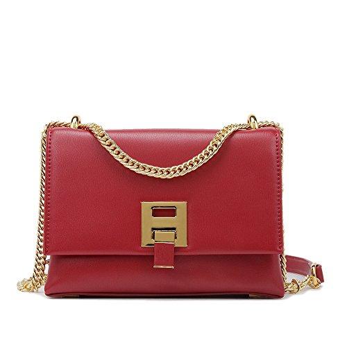Damas Rojo Estate Messenger Square Simple Compras Yamyannie Chain Bag Bag PU Lock Shoulder Shoulder Retro Strap w64ZFq