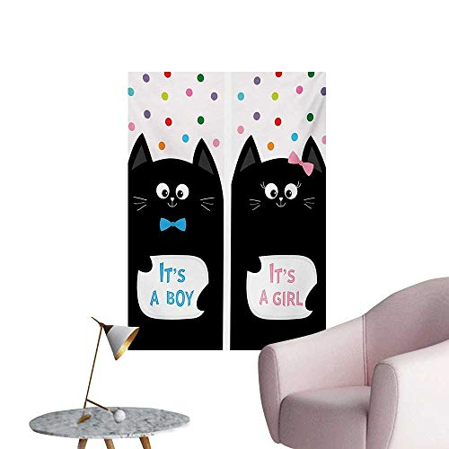 Anzhutwelve Gender Reveal Wall Sticker Decals Its A Boy Cards with Cats Little Baby Cute Kitty Polka Dots Funny PrintMulticolor W24 xL36 Custom Poster ()