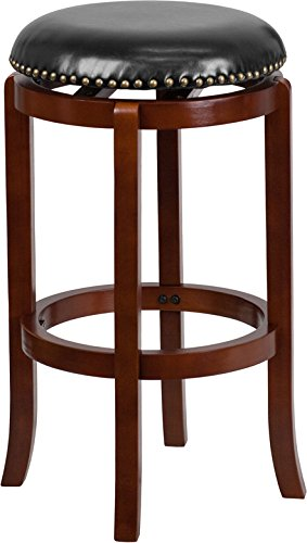 29'' High Backless Light Cherry Wood Barstool with Black Leather Swivel Seat (Seat High Swivel 29')