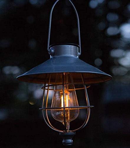 夢の行 2個セット ソーラー ランタン 庭園灯 LEDランタン ガーデンライト エジソン電球 防水 夜間自動点灯 雰囲気作り ランタンライト ペンダントライト おしゃれ 玄関先 車道 歩道 庭 ガーデン 屋外飾り オーナメント (シルバー)