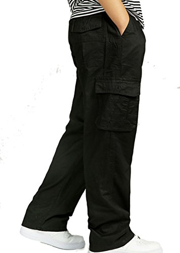 YGT Men's Relaxed Straight Chef Pull On Cargo Pants,  Medium Style 01 Black (Style Pants Chef)
