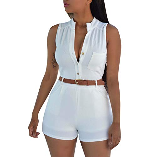 QIQIU Womens New Button V-Neck Pockets Playsuit Short Pants Casual Summer Fashion Wide Leg Beach Jumpsuits White -